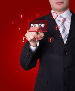 Man pressing error button - ©Depositphotos/ra2studio