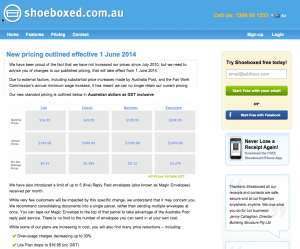 shoeboxed price increases