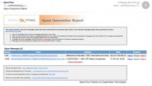 SpamTitan Anti-Spam Example Daily Quarantine Report