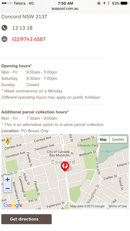 Australia Post Concord Open Hours Screenshot